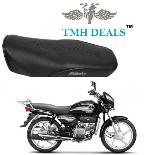 TMH SPLENDOR PLUS BLACK WITH SILVER SEAT COVER, HEAVY MATERIAL, WASHABLE, LONG LASTING (BLACK COLOR) Single Bike Seat Cover For Hero Splendor Plus