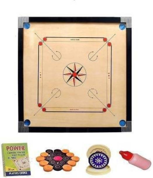 DT Wooden Carrom Board with Coins, Striker and Carrom Powder 26 inch :- (Beige) Carrom Board Board Game