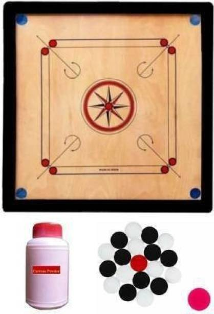 DT Wooden Carrom Board with Coins, Striker and Carrom Powder 20 inch :- (Beige) Carrom Board Board Game