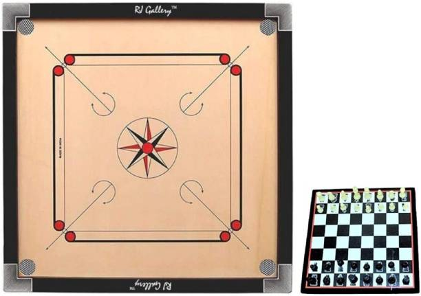 RJ Gallery Large Wooden Carrom Board with 2 in 1 Ludo with Chess combo set 4 cm Chess Board