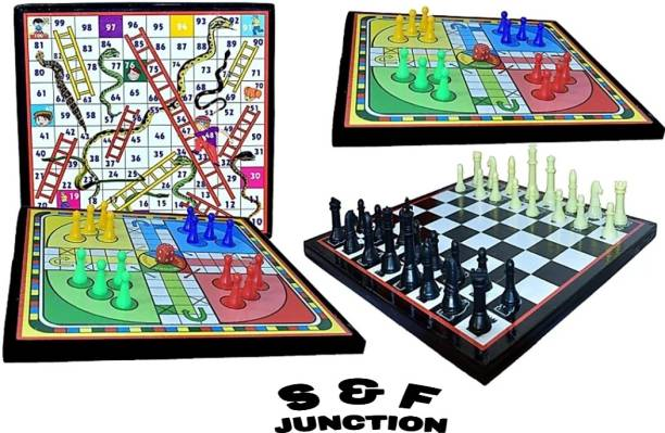 sports & fitness junction Ludo+Chess+Snake & Ladders 3 games in one combo Board Game For Indore/Fun Game 30 cm Chess Board