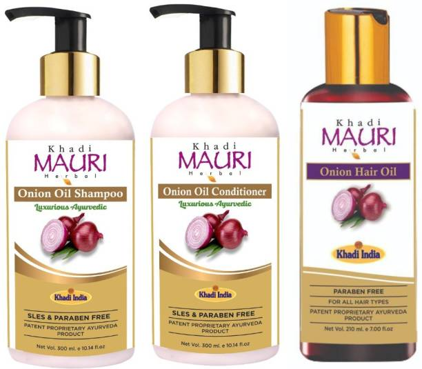 Khadi Mauri Herbal Onion Oil Hair Growth Kit - (Shampoo + Conditioner + Oil) - Enriched with Onion Oil, Amla, Aloe Vera & Powerful Natural Ingredients - Pack of 3