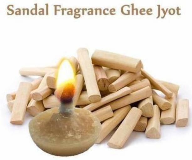 Rolimoli Sandal Fragrance Desi Ghee Diya/Jyot Batti of 60Pc in A Box table diya Cotton Wick