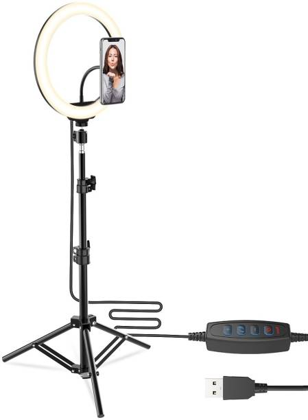 CASVO Remote Dimmable 3-Modes LED Ring Light with Tabletop Stand with Ball-Head for Making up Youtube Videos Ring Flash