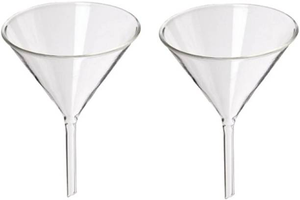 Spylx Funnel 3 inches 75mm for Laboratory Use Borosilicate Glassware,for Bottle Hot Oil or Liquid Chemicals Solutions, PACK OF 2 PCS. Borosilicate Glass Funnel Set