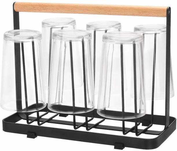 UV MAX 6 Glass Holder and Glass Stand for Dining   Mug Cup Organiser Shelf for Kitchen with Wooden Handle Wooden Glass Holder