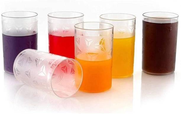 KARENA (Pack of 6) Plastic Diamond Design Unbreakable Stylish Transparent Water Glass/Juice Glass/Beer Glass/Wine Glass Plastic Set off 250 Ml Pack of (6) Glass Set