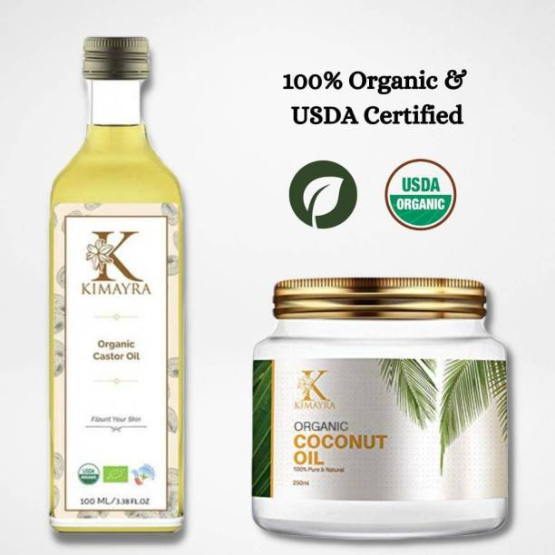KIMAYRA World Cold-Pressed, 100% Pure Castor Oil & Coconut Oil - Moisturizing & Healing, For Skin, Hair Care, Eyelashes (100 ml + 250 ml) super saver combo  Hair Oil