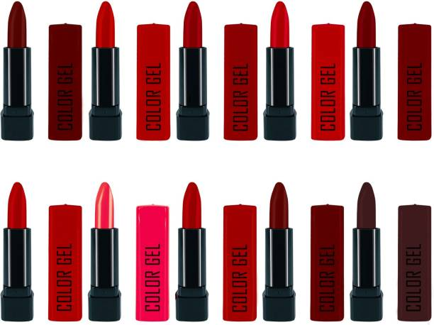 COLOR GEL Combo Balm Creamy Matte Lipstick for Women and Girls (Set of 10),Waterproof, Smudgeproof Long Lasting Creamy Matte Smooth Ultime Longstay Lipstick