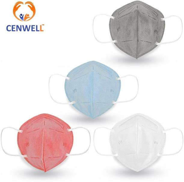 CENWELL 4 PC N95 Washable Reusable mask Anti Pollution mask Protection mask 5 layer mask for men women kIds Fabric mask N95 KN95 n95 Reusable Mask Free Size, Pack of 4) N95 SOLID