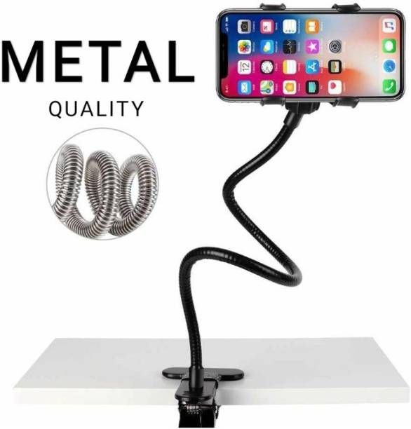 CQLEK Mobile Stand Holder Metal Built - Cell Phone Stand Perfect for Video Table Online Class Home Bed Flexible Charging Hand Bike Movie Office Gift Desktop Heavy Duty Foldable Lazy Bracket Clip Mount Multi Angle Clamp For All Smartphones Mobile Holder