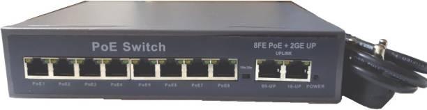 HANUTECH Poe Switch   8 Port Poe Switch  Poe Switch 8 Port Rj45(10/100Mbps) + 2 Port Uplink Gigabit Rj45 (10/100/1000Mbps) CCTV Networking Poe Switch Ethernet RJ45 Switch Network Switch
