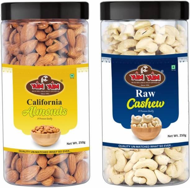 YUM YUM Premium California Almond (250g) and Cashew Nut (250g) 500g Dry Fruits Combo Pack- Almonds, Cashews