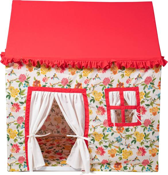 Zorixa Flowery Tent|Dollhouse tent|Cotton Fabric|Playhouse tent|With Quilted & Printed Floor Mate|For 3 to 10 Year kids