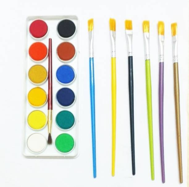 CRAZYGOL 12 Painting Brush ( 6 Round + 6 Flat )Tempra Colors/Paints/Water Colours for Painting/Kids