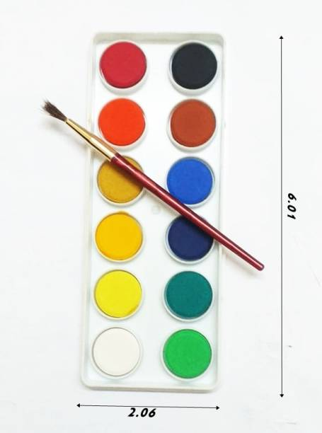 CRAZYGOL Painting Brush Round 7 Water Colour Box 1Red colour Tray Tempra Colors For Kids