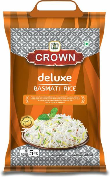 Crown Rice Deluxe Long Grain, Gluten Free,Double  100% Natural Basmati Rice (Long Grain, Polished)