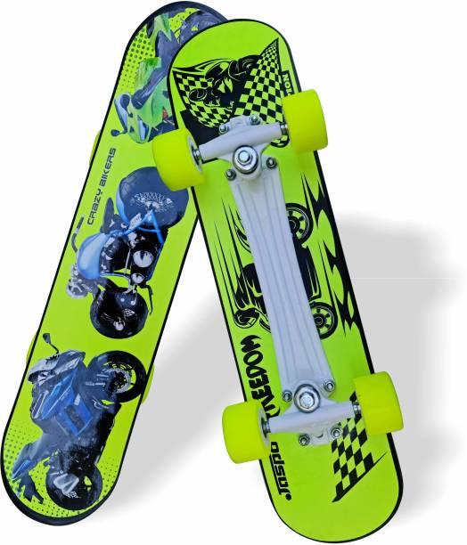 Jaspo Turbo Inches Fiber Beginner Skateboard for 8 yrs & Above (Crazy Bikers) 6.6 inch x 27.6 inch Skateboard