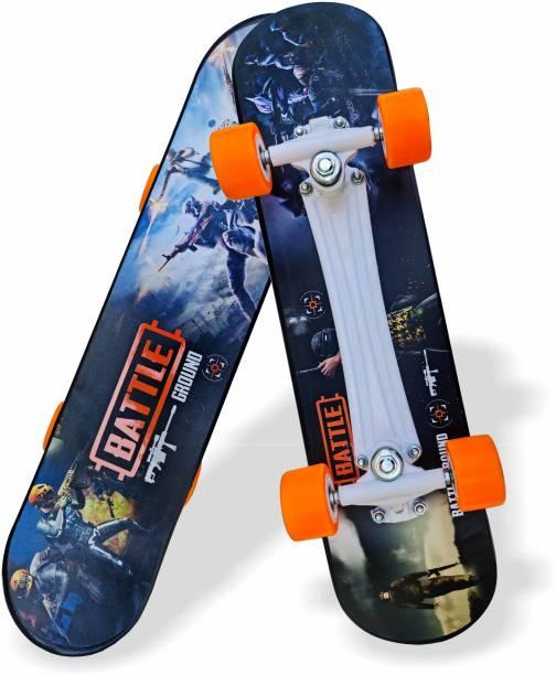 "Jaspo Turbo 26""x 6.25"" Inches Fiber Beginner Skateboard for 8 yrs & Above (Battleground) 6.6 inch x 27.6 inch Skateboard"
