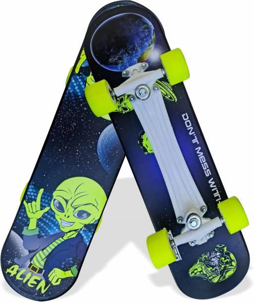 "Jaspo Turbo 26""x 6.25"" Inches Fiber Beginner Skateboard for 8 yrs & Above (Alien) 6.6 inch x 27.6 inch Skateboard"