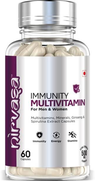 Nirvasa Multivitamin with Vitamin C,D3,E,B6,B12 with Zinc,Biotin ,Probiotics & spirulina