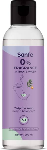 Sanfe 0% fragrance Intimate wash|200ml|For sensitive skin|Prevents Odour & irritation Intimate Wash