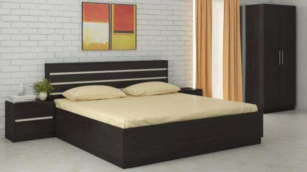 Adona Engineered Wood Bed + Side Table + Wardrobe