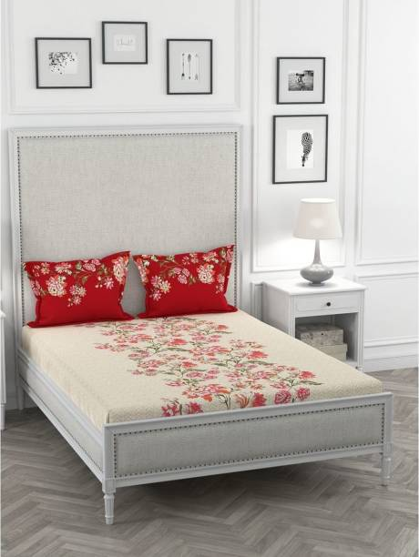 PORTICO NEW YORK 144 TC Cotton Double Floral Bedsheet