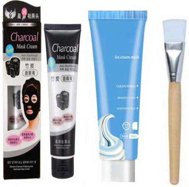 NKV'S Best Face Makeup Combo set 3 Ice Cream Mask Clean Pores with Charcoal mask and 1 Face Pack Brush