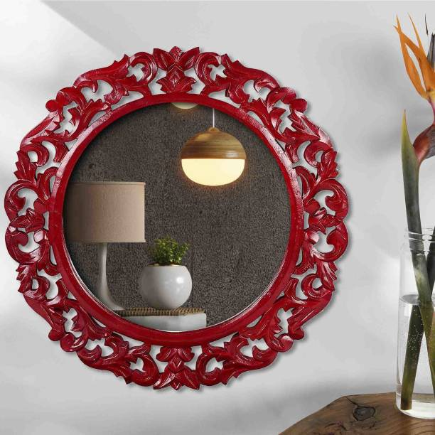 Timberly Wall Mounted Round Mirror Red 16 x 16