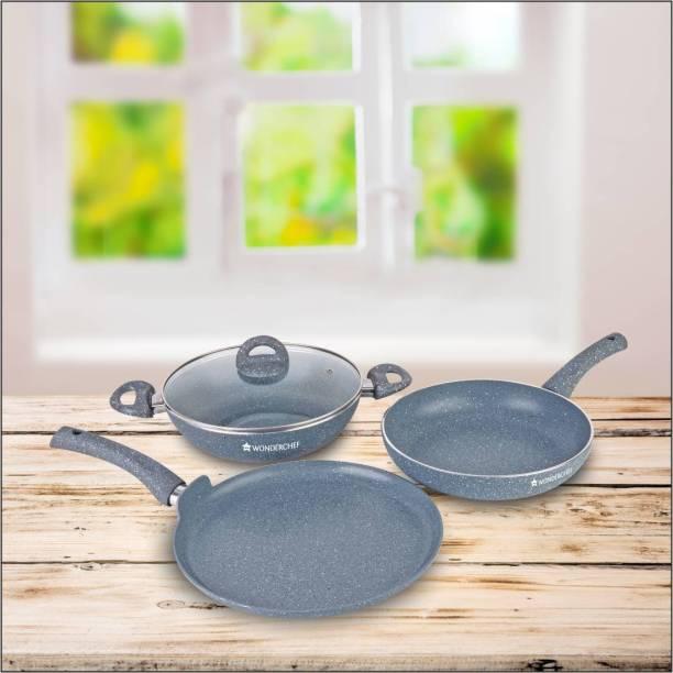WONDERCHEF onderchef Granite set with free dosa tawa-24cm Induction Bottom Cookware Set