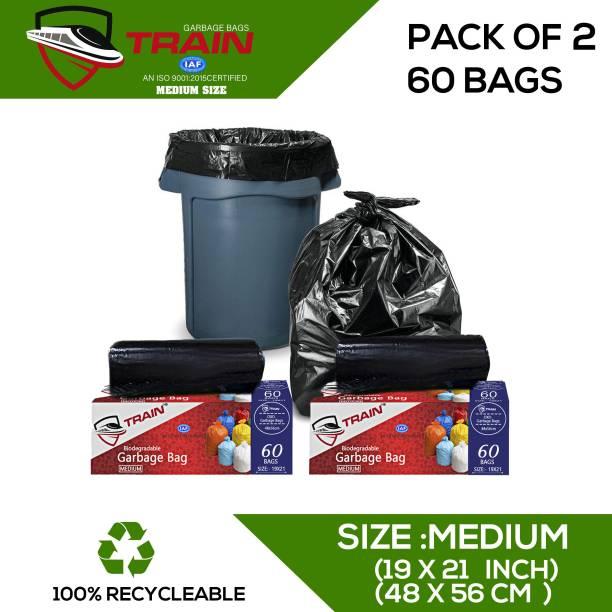Train Garbage Bags Small Size Biodegradable Disposable Dustbin Bags For Home Office And Restaurants Use 60 pcs Medium 20.01 L Garbage Bag