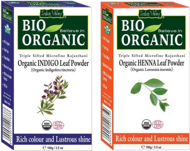 Indus Valley BIO Organic INDIGO + RED HENNA Hair Coloring Kit