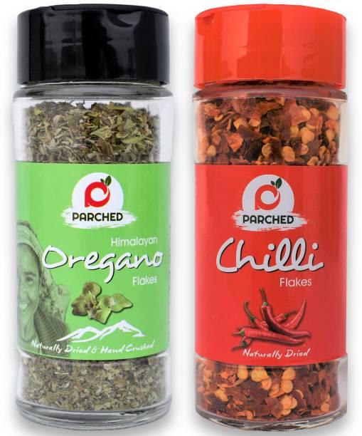 Parched Himalayan Oregano and Chilli Flakes Combo (20G, 40G)  NO Preservatives  NO Chemicals   Himalayan Herbs
