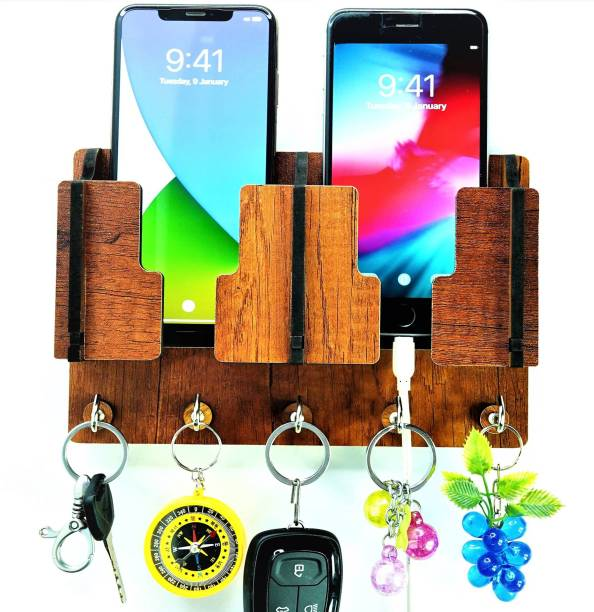 Ambvin Craft Mobile Charging and Key Stand, Handcrafted Art For Home Decor Living Room Bedroom , Wood Key Holder