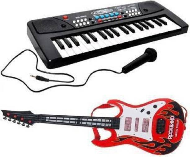 Toyporium Combo of 37 Key Piano Keyboard Toy with DC Power Option, Recording and Mic with Musical Guitar (red) With Light And Sound for kids