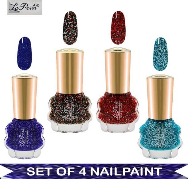 La Perla Nail Paint - Blue Glitter, Ice Blue Glitter, Red Bomb Glitter, Red Glitter - 10 ml Each Multicolor