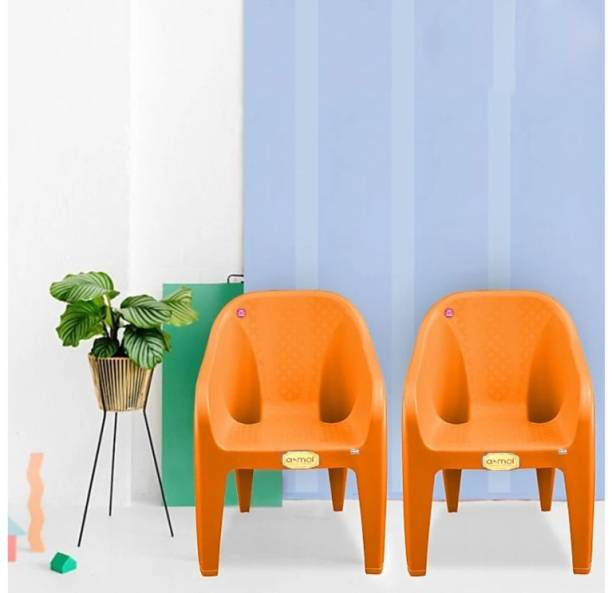 Anmol AMMOL Safari (set of 2 ) Orange color with Comfort Sitting Weight Bearing capacity 160 kg Outdoor Chair Plastic Outdoor Chair