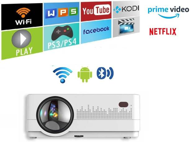 IBS ANDROID 9.0 WIFI YOUTUBE NETFLIX HD LED 3D Projector 5000 Lumens, HDMI USB VGA AV, 1280*720P BLUETOOTH HIGH DEFINATION 3D VIEW (5000 lm / Wireless / Remote Controller) Portable Projector