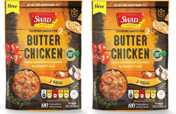 SWAD Butter Chicken Cooking Sauce | Creamy and Mild Blend of Tomatoes | Dry Fenugreek and Garlic | No Preservatives and Artificial Flavors | Pack of 2 | 250g Each 500 g