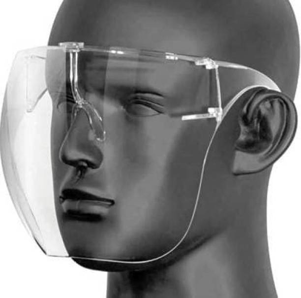 Facade Full face shield Protective Face Shield Full Cover Visor Glasses/Sunglasses (Anti-Fog/Reusable/Unbreakable/washable)- Unisex Protective Face Mask Safety Visor Goggle Face-Shield Mask With Safety Pouch Safety Visor