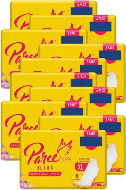 Paree Ultra Dry Feel XL (Tri-Fold) - 6 Pads (Combo of 10) Sanitary Pad