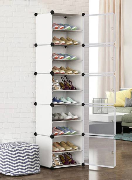 Sasimo 5-Door 10 - Shelf Plastic Metal Collapsible Shoe Stand