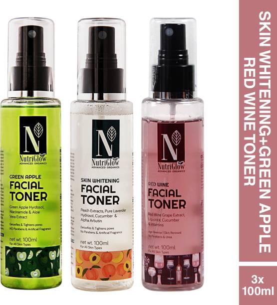 Nutriglow Advanced Organics Combo of 3 Green Apple Toner (100ml)|Red Wine Toner (100ml) & Skin Whitening Toner For Skin Repair |Skin Brightening|Daily Use Men & Women
