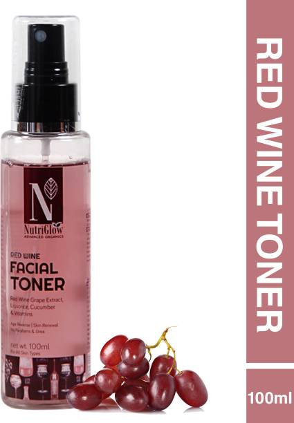 Nutriglow Advanced Organics Red Wine Facial Toner/Anti-Ageing/ Reduces Wrinkles/With Red Wine Grape Extracts Men & Women