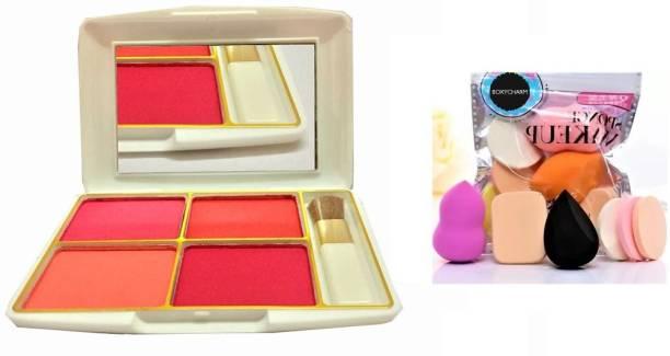 BOXYCHARM 4 Color Blusher Kit for Face Makeup + makeup sponge puff