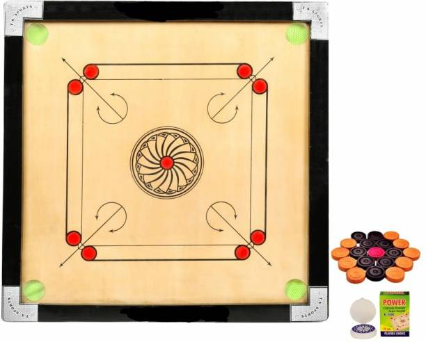 vnh Glossy Finish Wooden Medium Size(26inches)Carrom Board with Coins,Striker & Powder 30 cm Carrom Board