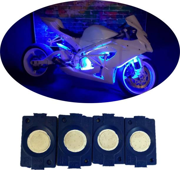 hjg Sunny Day BLUE IMPORTED Underglow PATCH LIGHTS (Front/Rear , Bike Body Lights) - PACK OF 4 - IP65 WATERPROOF DUSTPROOF SHOCKPROOF - Universal Brake Light, Parking Light, Indicator Light, Back Up Lamp Motorbike, Car, Van, Truck LED (12 V, 1.5 W)