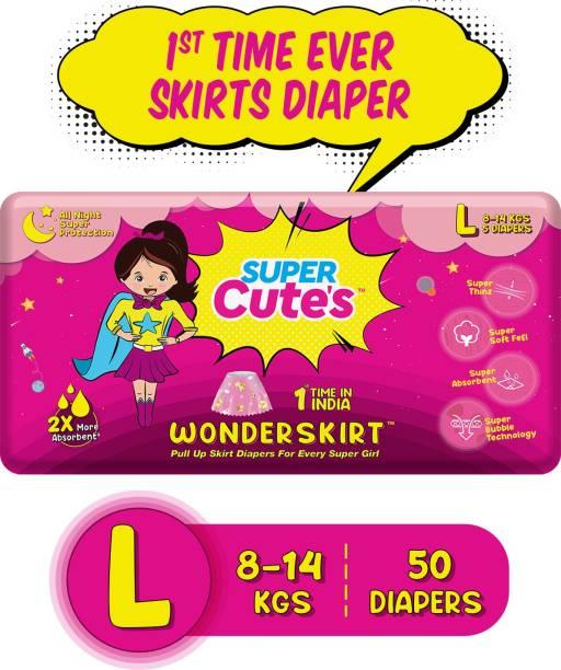 Super Cute's | WonderSkirt for Girl | Pant Style Ultra Premium Diaper with Disposable Skirt | Diaper inside skirt Outside - L