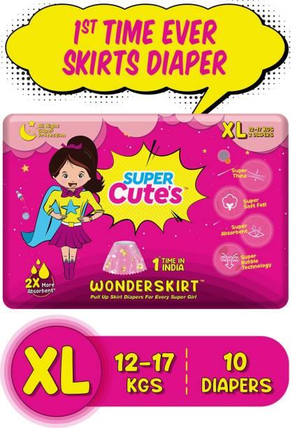 Super Cute's | WonderSkirt for Girl | Pant Style Ultra Premium Diaper with Disposable Skirt | Diaper inside skirt Outside - XL